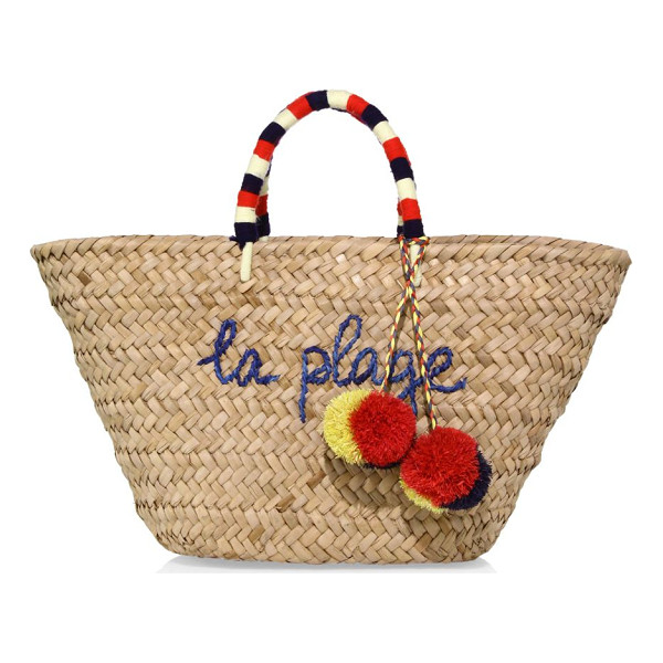 KAYU la plage tote - Straw tote with yarn handles and raffia pom-poms. Double...