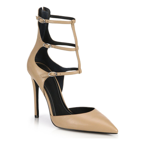 KENDALL + KYLIE Alisha caged-ankle leather pumps - Leather point-toe pump with cage-style ankle...