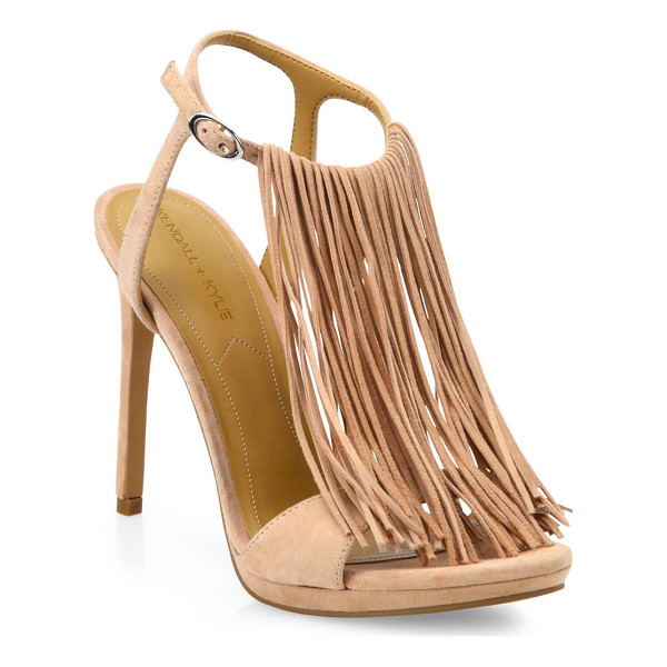 KENDALL + KYLIE Aries tassel suede sandals - Swingy on-trend fringe overlays suede T-strap...
