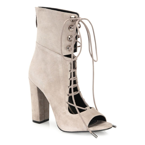 KENDALL + KYLIE ella suede lace-up block-heel booties - Notched suede peep-toe bootie with lace-up styling....