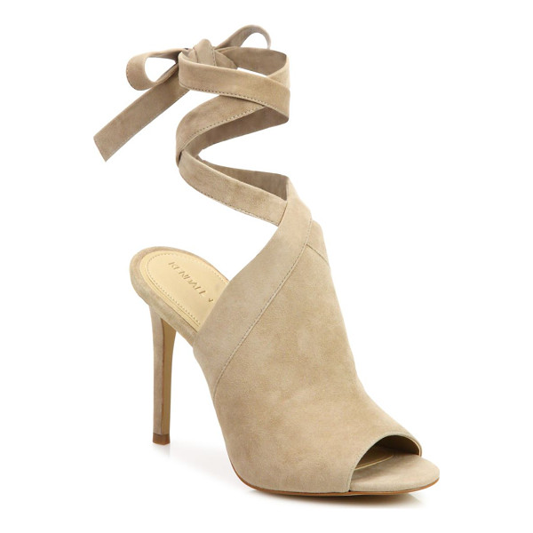 KENDALL + KYLIE evelyn suede ankle-tie sandals - Sultry suede peep-toe mule with wraparound ankle tie....