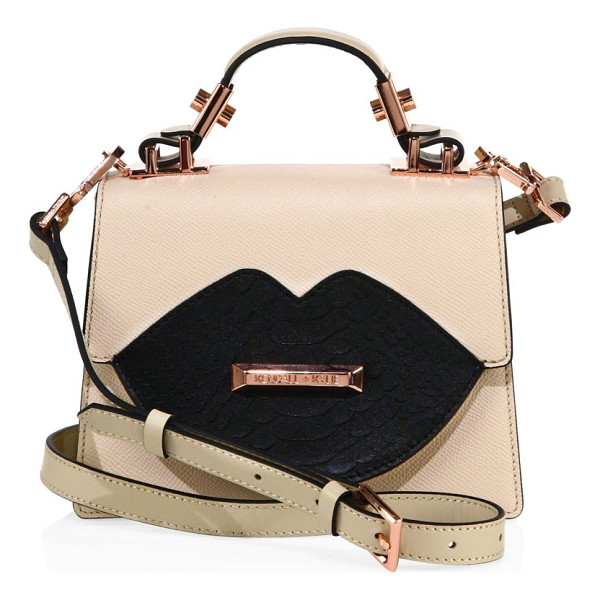 KENDALL + KYLIE gaby leather crossbody bag - Striking lip design at front uplifts this chic bag. Top