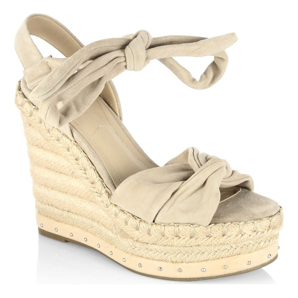 KENDALL + KYLIE grayce suede espadrille wedges - Appealing lace-up details on suede espadrille wedges....