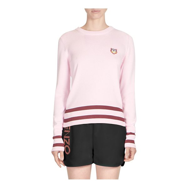 KENZO striped trim sweater - Tiger embroidered sweater. Crewneck. Long sleeves. Striped...