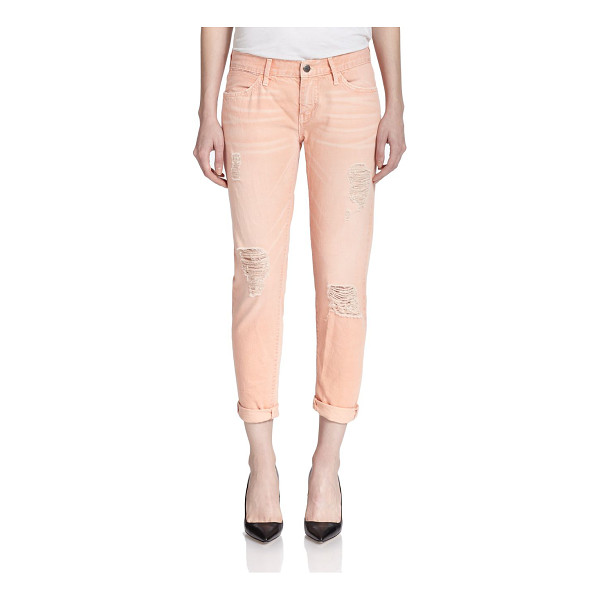 KORAL ACTIVEWEAR Distressed relaxed skinny jeans - A whiskered, pastel wash, threadbare shredding and a rolled...