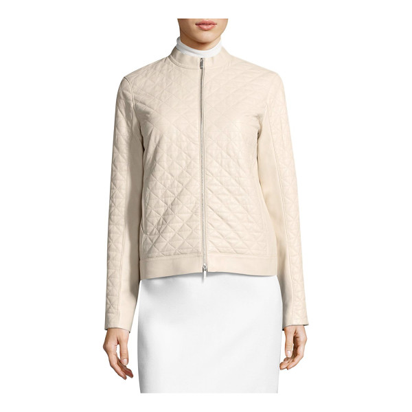 LAFAYETTE 148 NEW YORK becks moto jacket - Leather moto jacket flaunting elegant quilt design. Stand...