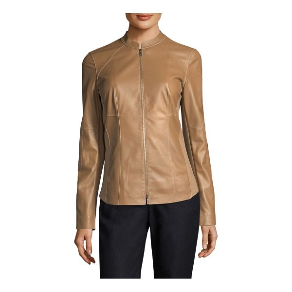 LAFAYETTE 148 NEW YORK embla leather jacket - Distinctively seamed jacket with ponte fabric detail. Stand...