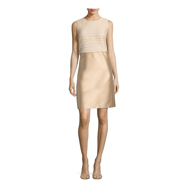 LAFAYETTE 148 NEW YORK paolo mixed media dress - Textured bodice tops gleaming shantung skirt. Roundneck....