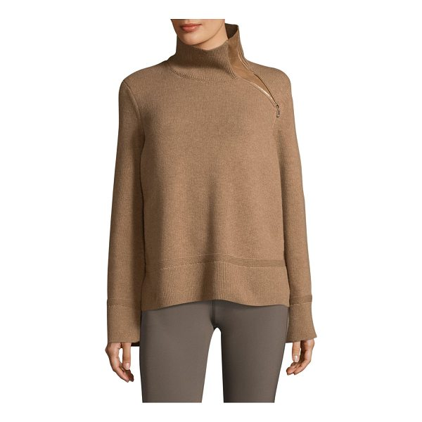 LAFAYETTE 148 NEW YORK rib cropped sweater - Cozy sweater enhanced with suede zip insert. Ribbed...
