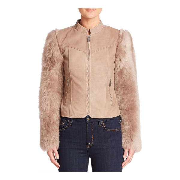 LAMARQUE casta shearling moto jacket - Statement sleeves frame shearling moto jacket. Stand...