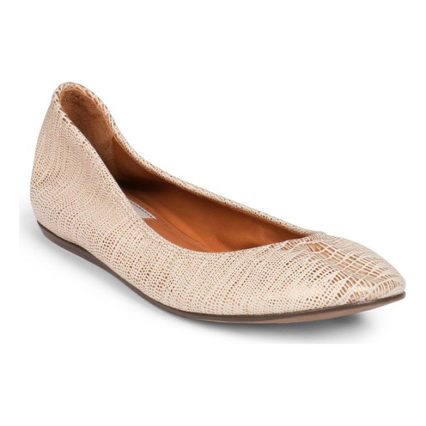 LANVIN Classic lizard-embossed metallic leather ballet flats - A simplistically chic ballet flat crafted in supple...