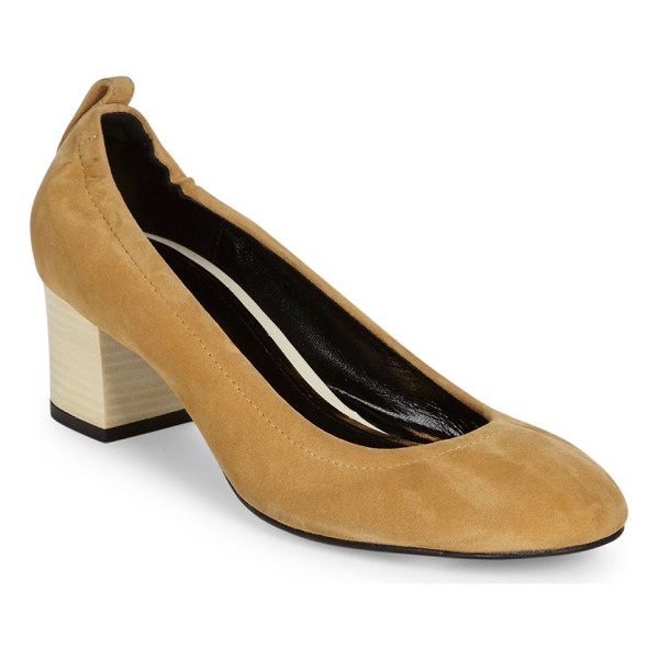 LANVIN cube-heel suede ballet pumps - Iconic suede ballet flat set on stacked cube heel. Stacked...