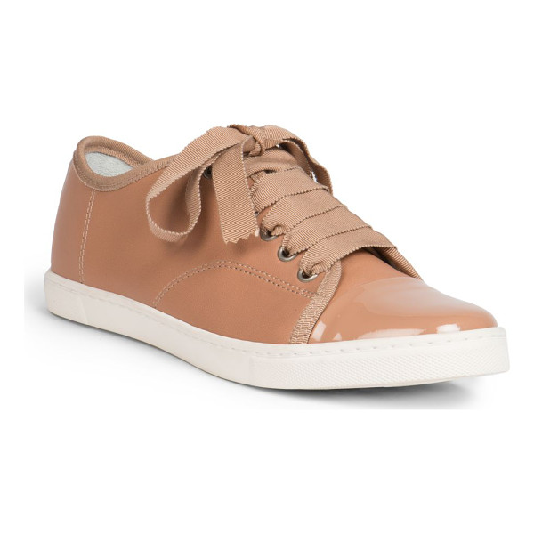 LANVIN Leather ribbon lace-up low-top sneakers - A lustrous patent cap toe exemplifies these supple leather...
