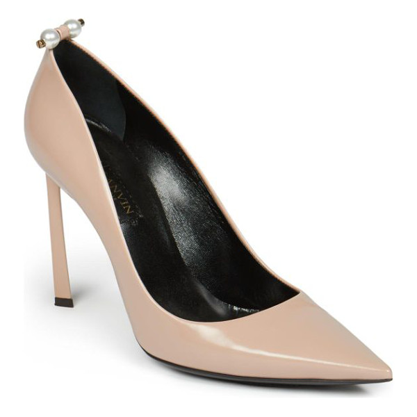 LANVIN Pearl-studded leather pumps - Pearls dot these classically chic leather pumps with a cool...