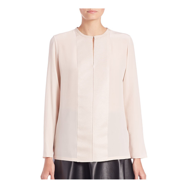 LANVIN Silk & grosgrain blouse - Signature grosgrain panels accent the placket of this airy...