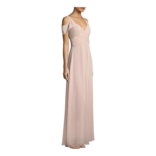 LAUNDRY BY SHELLI SEGAL cold-shoulder shirred gown - Elegant gown enhanced with shirred accents.V-neck. Short...