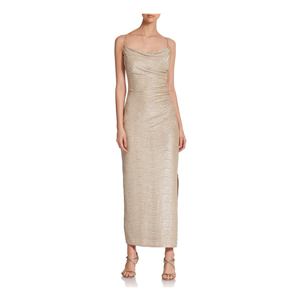 LAUNDRY BY SHELLI SEGAL Crinkle foil gown - A sleek, minimalist design accented with shirring for an...