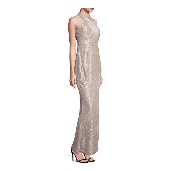 LAUNDRY BY SHELLI SEGAL metallic halter gown - Chic cross-front gown with twisted cutout back. Halterneck....