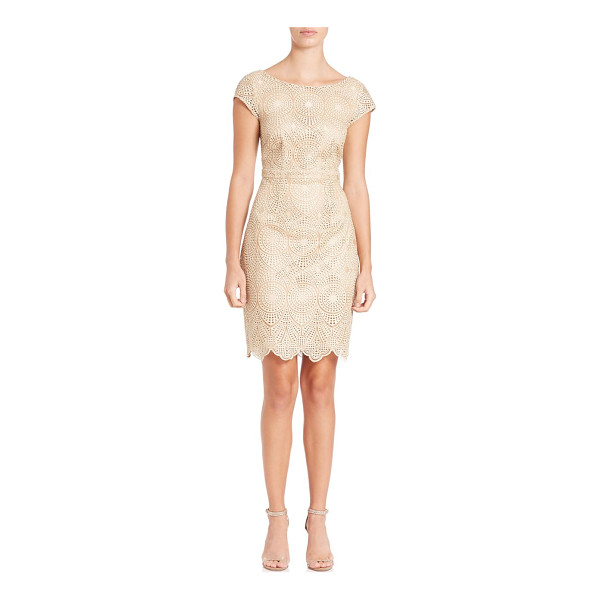 LAUNDRY BY SHELLI SEGAL cutout lace cocktail dress - Lace cocktail dress freshened with cutout back. Roundneck....
