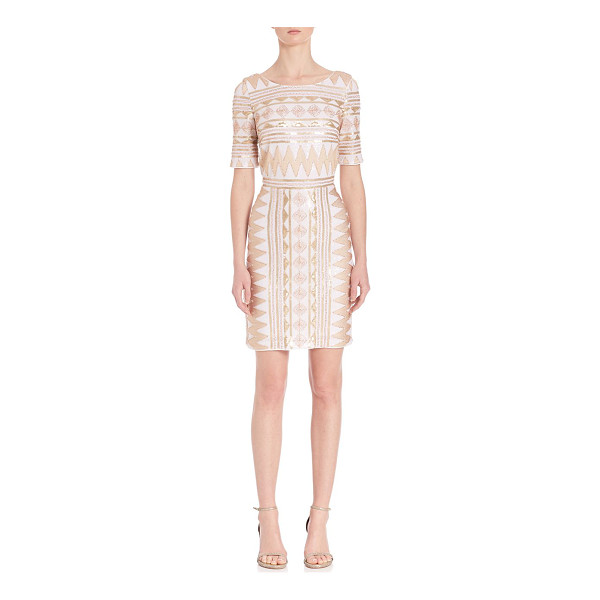 LAUNDRY BY SHELLI SEGAL geometric sequin embellished dress - Dazzling dress in allover sequins and geometric pattern....