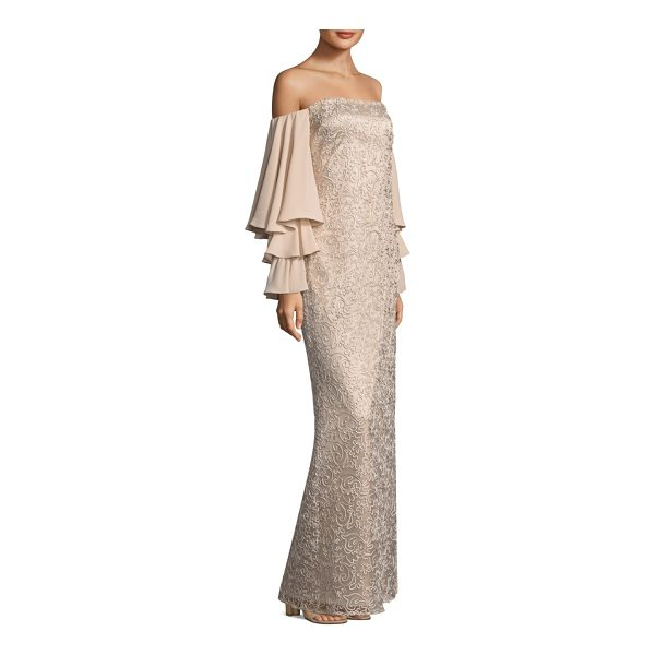 LAUNDRY BY SHELLI SEGAL off-the-shoulder floor-length gown - Elegant gown with tiered sleeves and ornate details....