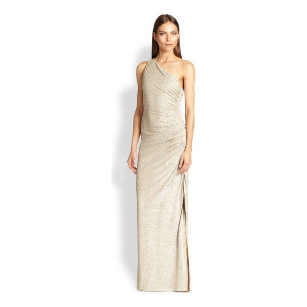 LAUNDRY BY SHELLI SEGAL one-shoulder gown - Floor-length gown finished with metallic knit design....