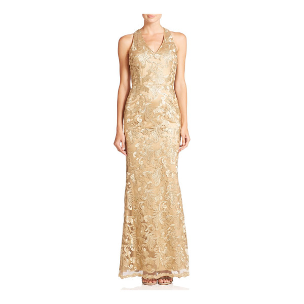 LAUNDRY BY SHELLI SEGAL Platinum amulet embroidered mesh floor-length gown - An intricately embroidered mesh overlay defines the...