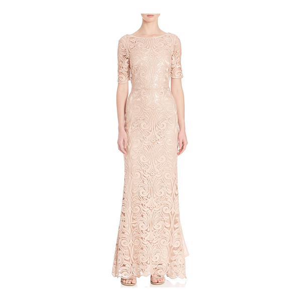 LAUNDRY BY SHELLI SEGAL platinum sequin lace gown - From the Platinum collection. Embellished lace gown with...
