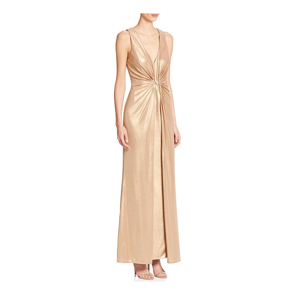 LAUNDRY BY SHELLI SEGAL Platinum foxtrot foiled knit gown - A shirred bodice accentuates the figure-flattering...