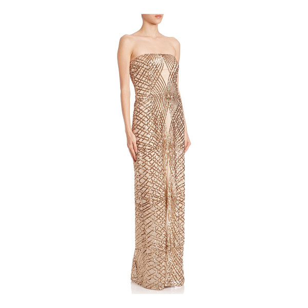 LAUNDRY BY SHELLI SEGAL Platinum strapless sequined gown - EXCLUSIVELY AT SAKS FIFTH AVENUEStructured gown in sequined...