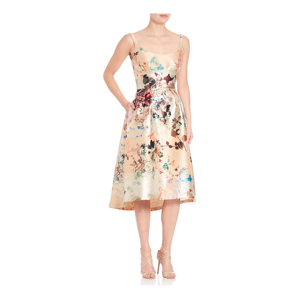 LAUNDRY BY SHELLI SEGAL platinum sleeveless floral dress - Lustrous florals shine in a ladylike silhouette. Scoopneck....