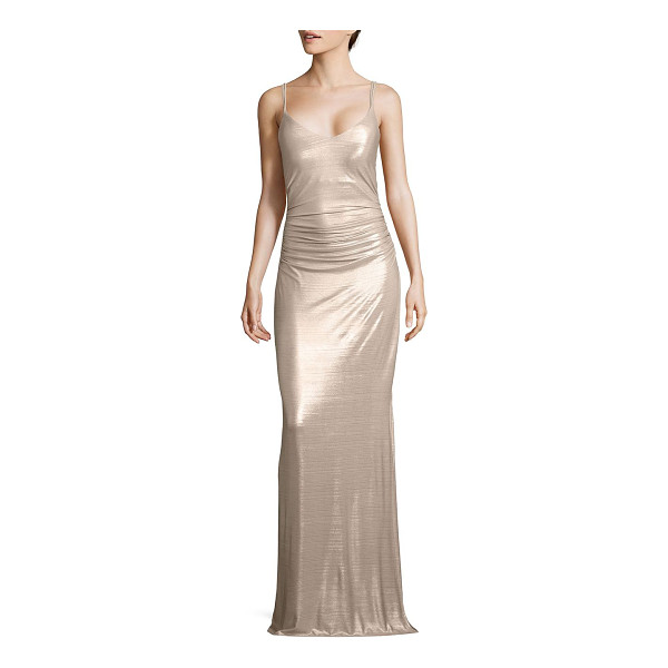 LAUNDRY BY SHELLI SEGAL metallic strappy gown - Metallic knit gown with multiple straps at back.V-neck....