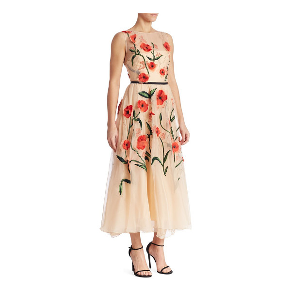 LELA ROSE floral embroidered dress - Gorgeous floral embroidery details this semi-sheer dress....