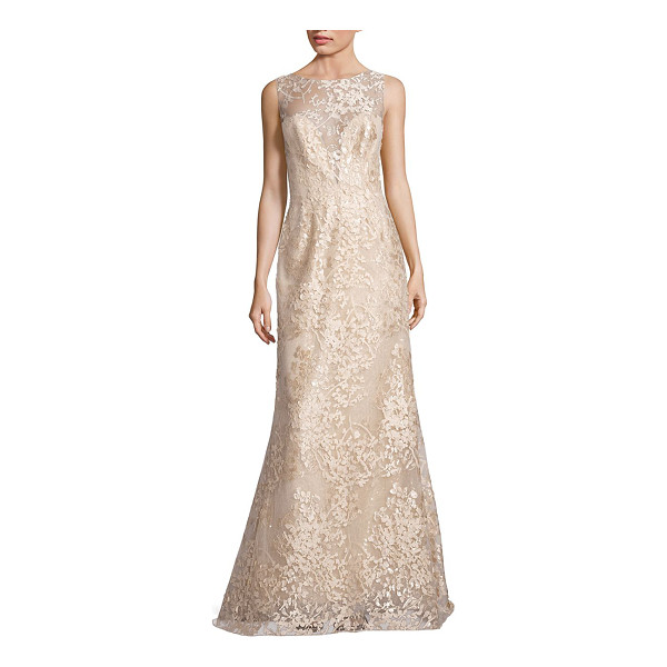 LIANCARLO embroidered sleeveless bateau gown - Elegant bateau gown accented with intricate laser-cut...