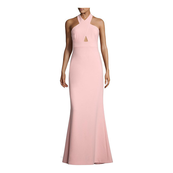 LIKELY damen halterneck gown - On-trend gown highlighted with back slit and front cutout....