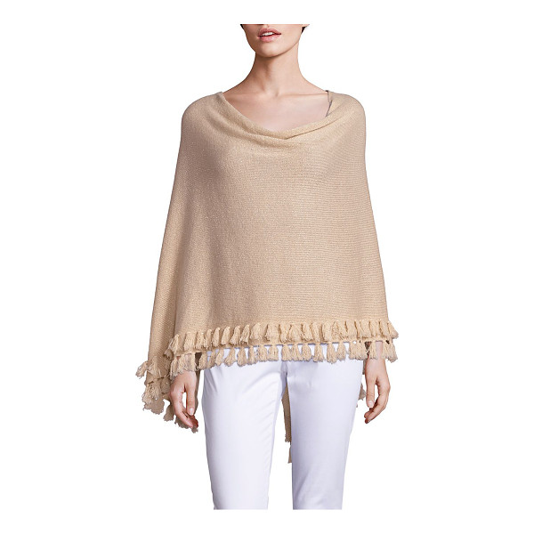 LILLY PULITZER limonada metallic cashmere wrap - Shimmering cashmere poncho with tiered tassel hem....