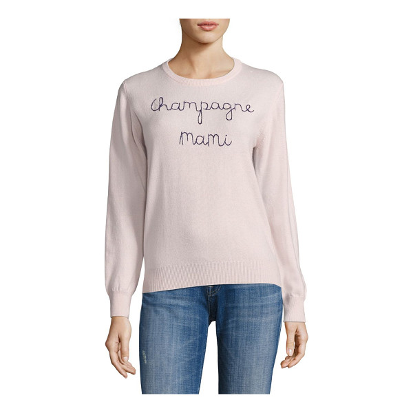 LINGUA FRANCA champagne mami embroidered cashmere sweater - Soft cashmere sweater with contrast embroidery. Hand...