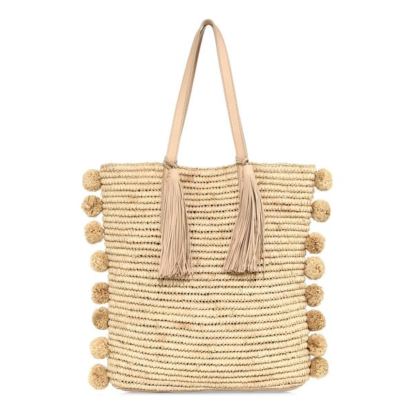 LOEFFLER RANDALL cruise straw tote - Breezy straw tote accented with pom-poms and tassels....