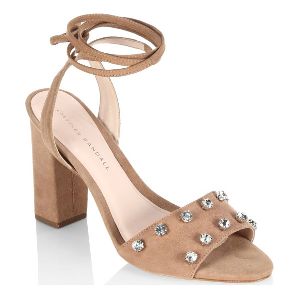 LOEFFLER RANDALL elayna studded suede ankle-wrap sandals - Chic sandals with alluring rhinestone embellishments....