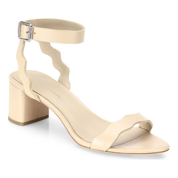LOEFFLER RANDALL emi scallop leather block heel sandals - Scalloped edges elevate leather ankle-strap sandal....