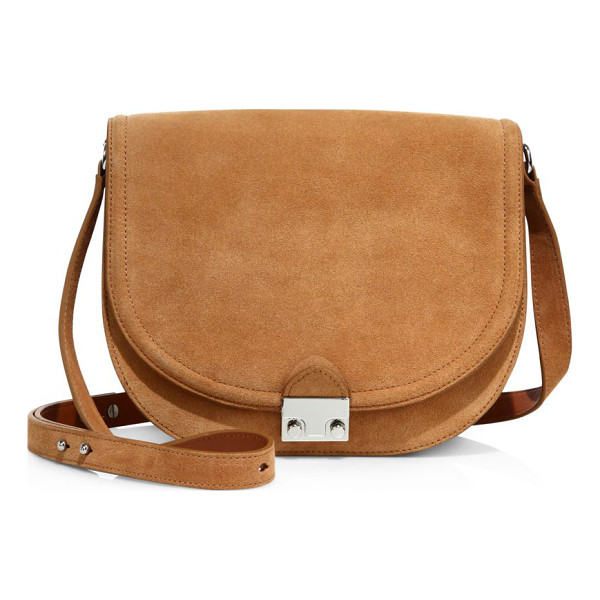 LOEFFLER RANDALL large suede saddle bag - Classic saddle style in brushed suede with signature lock....