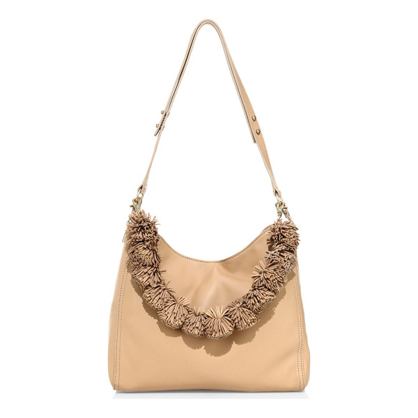 LOEFFLER RANDALL mini sheep leather hobo bag - Chic pom-poms define this sheep leather hobo bag.
