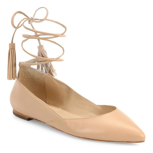 LOEFFLER RANDALL penelope leather ankle-wrap point toe flats - Leather point-toe flat with tasseled ankle-wrap ties....