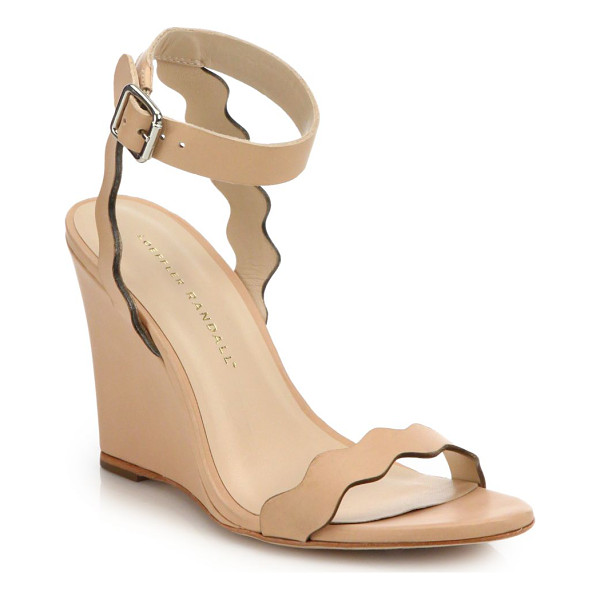 LOEFFLER RANDALL piper scallop leather wedge sandals - Scalloped straps elevate sleek leather wedge. Wedge heel,...