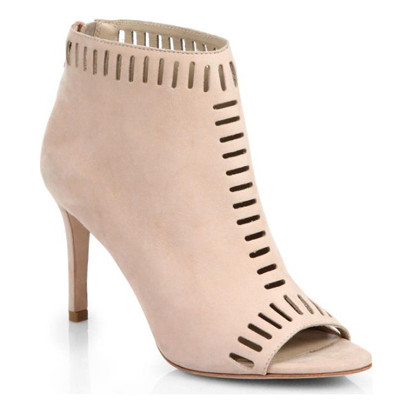 LOEFFLER RANDALL Sloane laser-cut suede open-toe booties - An open toe adds a unique perspective to these laser-cut...