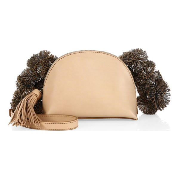LOEFFLER RANDALL vachetta leather crossbody pouch - Compact pouch with fun pom-poms and tassels. Crossbody...