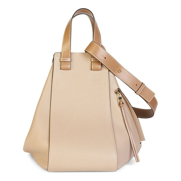 LOEWE mini leather tote - Classic hammock tote made from pebbled leather. Double top...