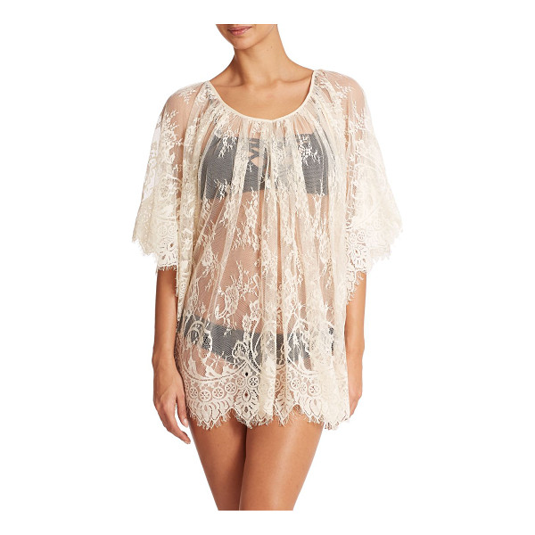 L*SPACE Geneva swim coverup - Eyelash trim adds a whimsical effect to this sheer lace...