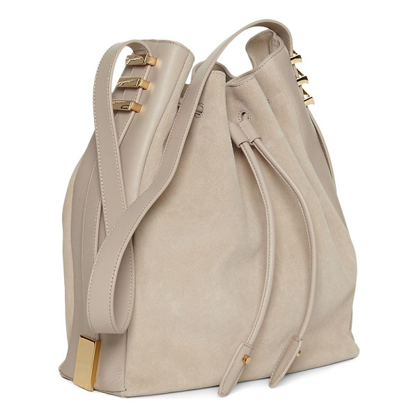 LUANA ITALY cecilia leather bucket bag - Roomy bucket bag features striking goldtone accents. Top