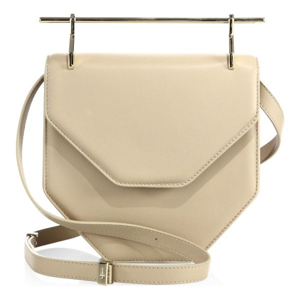 "M2MALLETIER amor fati leather shoulder bag - Architectural leather style with sleek ""needle"" handle...."